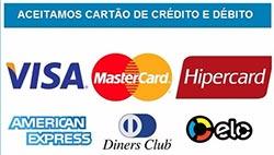 Aceitamos pagamentos com Cartão de Crédito e Débito